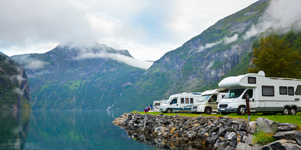 Motorhomes at campsite by the Geirangerfjord in Norway