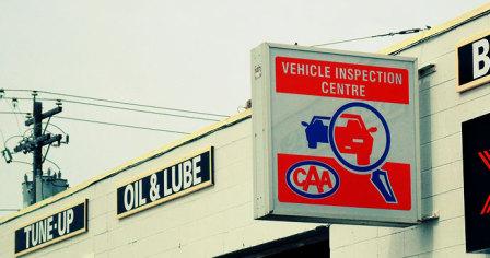 CAA auto inspection centre sign