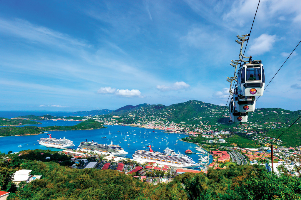Cable Car to Paradise Point with View across the Harbor, Havensight, Charlotte Amalie, Saint Thomas, USVI, Caribbean