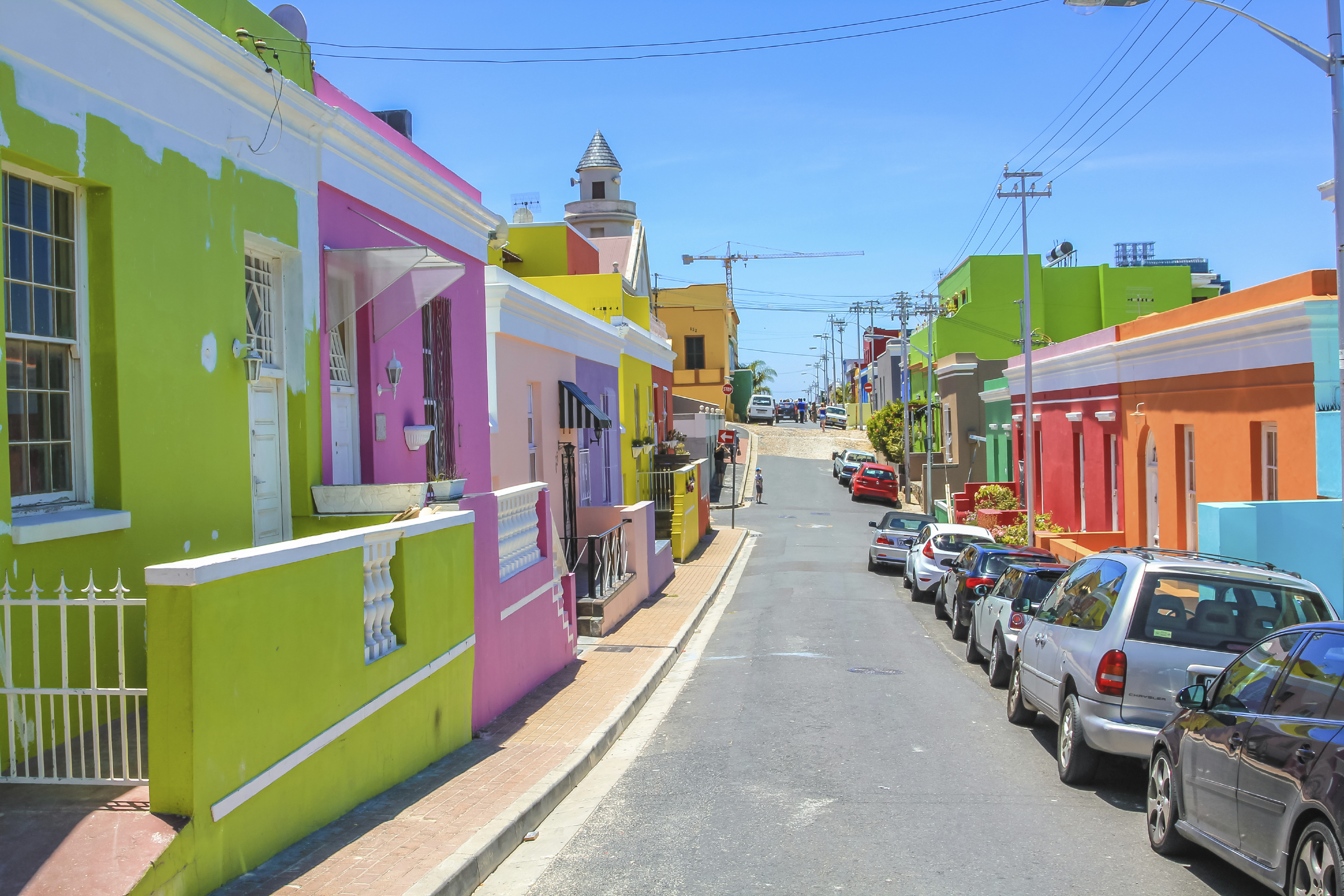 Cape Town, South Africa - January 11,2014: The colorful houses of Bo-Kaap, famous Malay Quarter is the Muslim Malay village in Cape Town, one of the most picturesque part of town, South Africa.