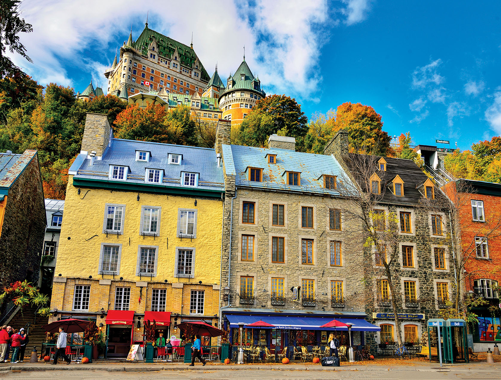 Restaurants in the Lower Town of Vieux Quebec with View of Hotel Fairmont Le Chateau Frontenac, Quebec City, Province of Quebec, Canada