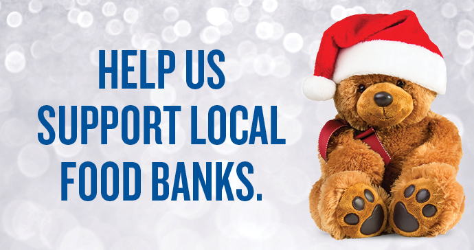 Help Us Support Local Food Banks with Teddy in a Santa hat