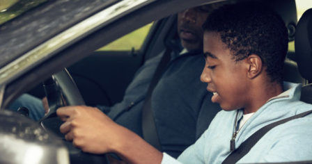 Teen learning to drive