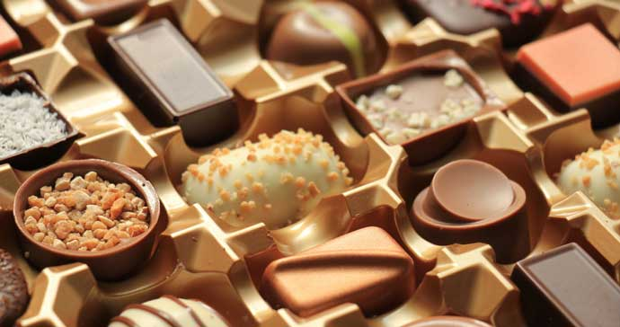 Tasty selection of gourmet chocolates