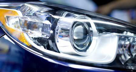 close-up of a car's HID headlight