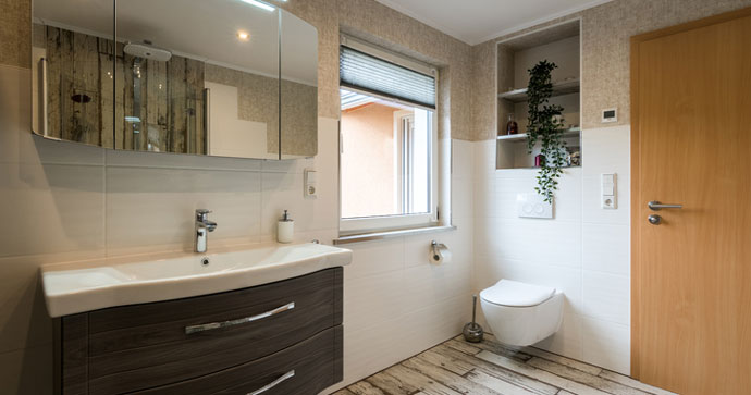a modern, renovated bathroom