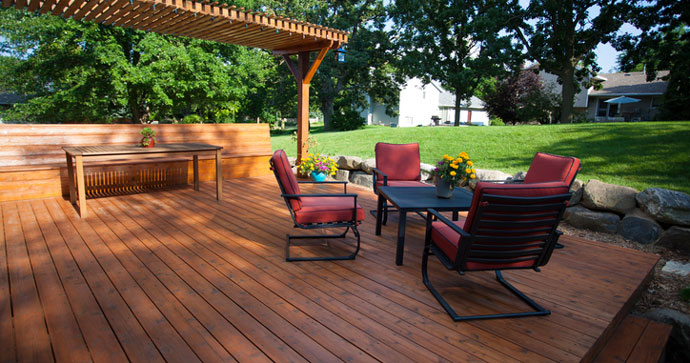 backyard deck with patio furniture