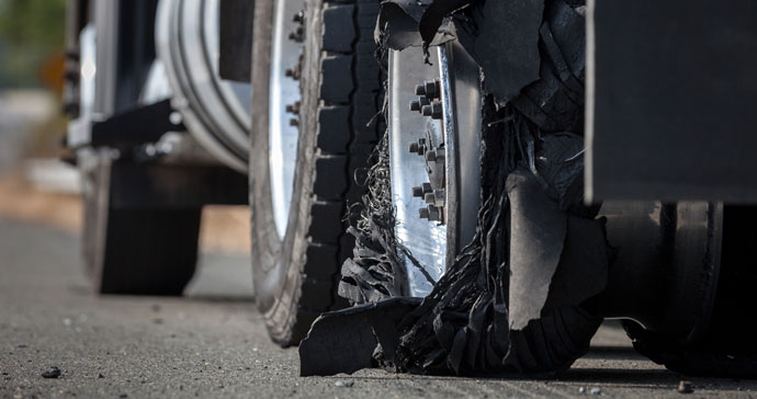 truck with blown out tire